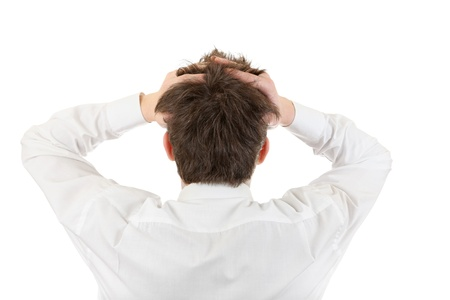 occiput: Back View of the Young Man Head  Isolated on the white background Stock Photo