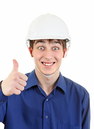 Happy Young Man in Hard Hat showing OK gesture  Isolated on the White Background Stock Photo - 19403147