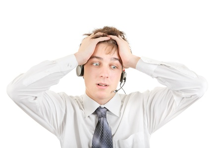 Troubled Teenager with Headset Isolated on the White Background Stock Photo - 21622535