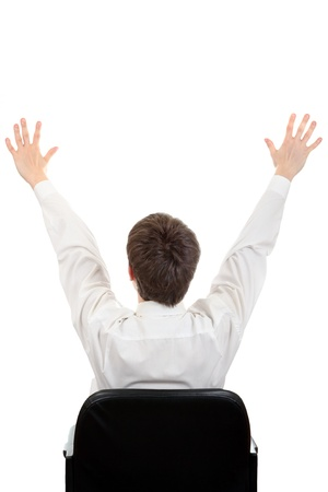 Rear View of the Man on the Chair with Hands Up Isolated on the White Background photo
