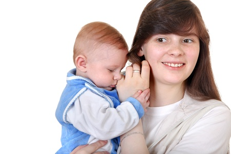 Young Mother and beautiful Baby Boy Isolated on the White Background photo
