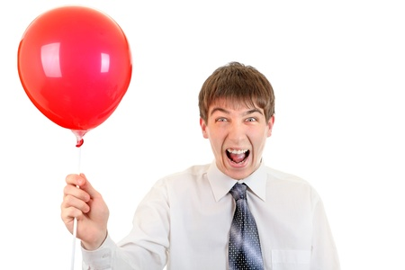 Young Man with Red Ball is shouting a loud  Isolated on the White Background Stock Photo - 22030303