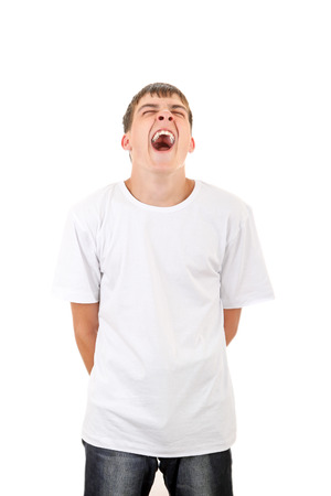 wearied: Young Man Yawning Isolated on the White Background Stock Photo