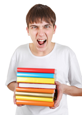 angriness: Angry Student with a Books Isolated on the White Background