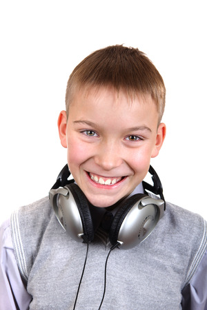 Portrait of Happy Boy with Headphones Isolated on the White Background