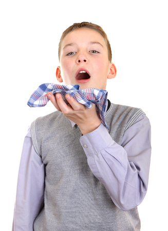 Sick Young Boy got a Flu Isolated on the White Background Stock Photo - 23792703