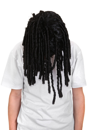 Man in the dreadlocks Wig Isolated on the White Background photo