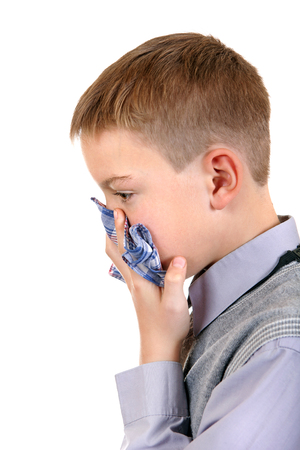 Sick Young Boy Isolated on the White Background Stock Photo
