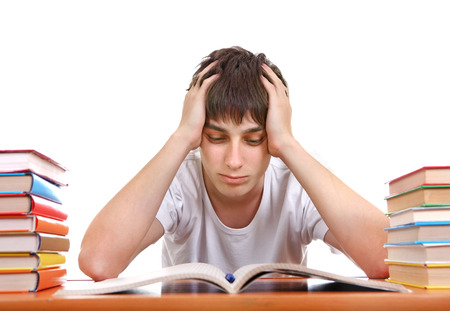 wearied: Sad Student after Hard Work for Exam on the White Background