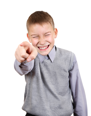 derision: Mocker Boy pointing at You. Isolated on the White Background
