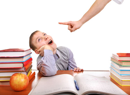 ennui: Parent threatening Son for a Learning on the white background Stock Photo