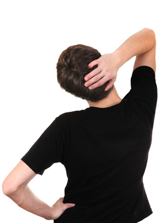 occiput: Back View of the Young Man in black t-shirt. isolated on the white