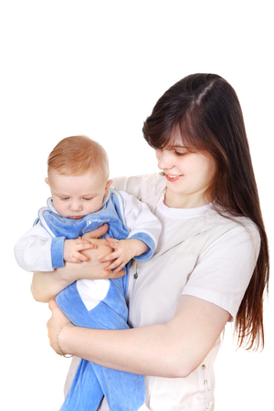 Young Mother holds the beautiful Baby Boy Isolated on the White Stock Photo - 25390978