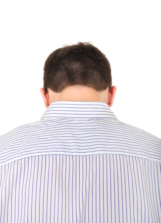 occiput: Back view of the Young Man Isolated on the white background