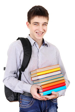 gladden: Student with Knapsack Holding the Books Isolated on the White Background