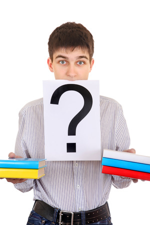 ques: Anxious Student with the Books and Question Mark Isolated on the White Background