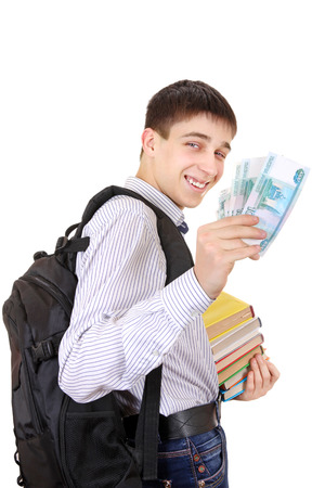 grant: Happy Student with Russian Currency Isolated on the White Background