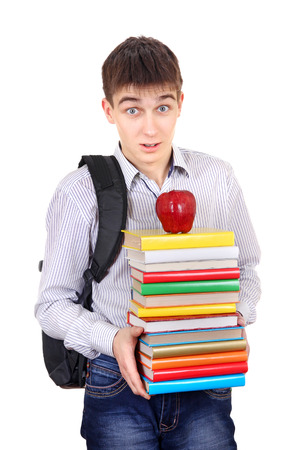 gladden: Surprised Student with Knapsack Holding the Books Isolated on the White Background