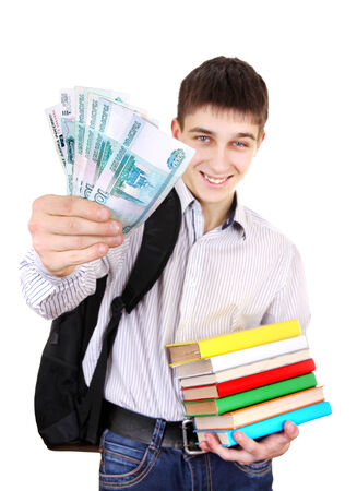gladden: Happy Student with Russian Currency Isolated on the White Background
