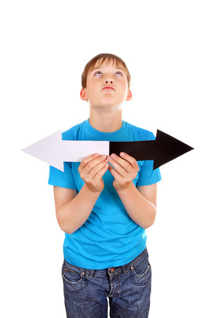 way out: Kid is Thinking and holds Two Arrows Isolated on the White Background