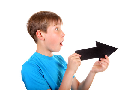 Surprised Kid with Black Arrow Isolated on the White Background