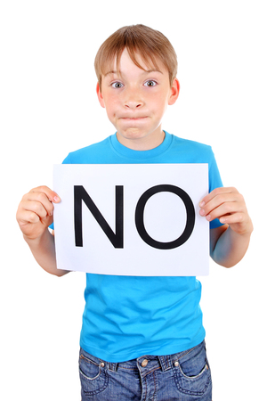remonstrance: Kid hold a sheet with slogan NO Isolated on the White Background