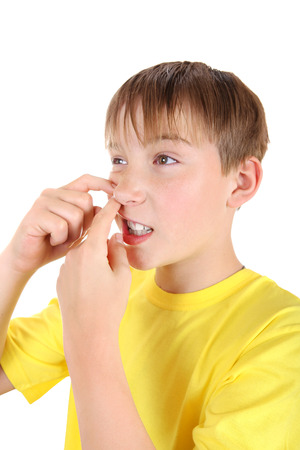 Kid with Pimple Isolated on the White Background