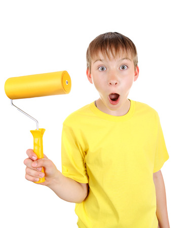 colourer: Surprised Kid with Paint Roller Isolated on the White Background