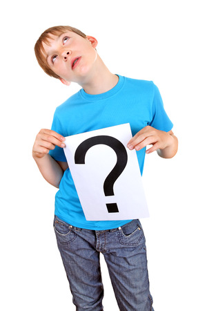 Kid holding a Paper with Question Mark on the White Background photo