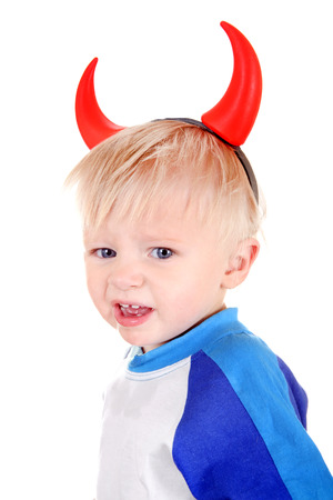wicked problem: Naughty Baby Boy with Devil Horns on the Head Isolated on the White Background