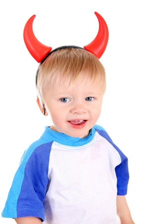 depraved: Baby Boy with Devil Horns on the Head Isolated on the White Background