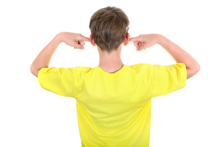 occiput: Rear view of a Kid with cover Ears Isolated on the White Background