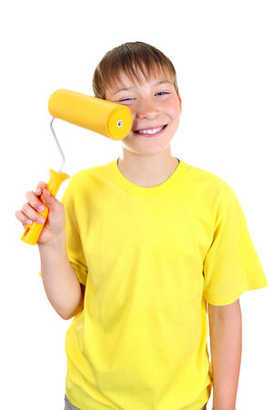 colourer: Cheerful Kid with Paint Roller Isolated on the White Background