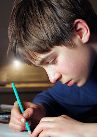 Teenage Boy doing Homework in the Home Room photo