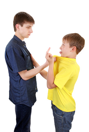 variance: Teenager threaten a Naughty Kid on the White Background