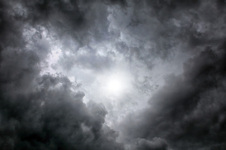 Dramatic Cloudscape Area with the Light in the centre Stock Photo