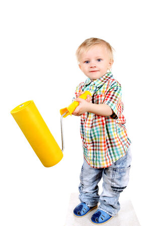 colourer: Baby Boy with Paint Roller Isolated on the White Background Stock Photo