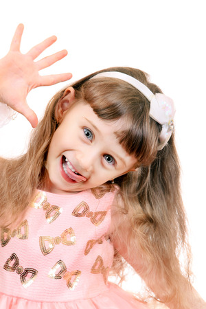 girlie: Cheerful Little Girl Isolated on the White Background