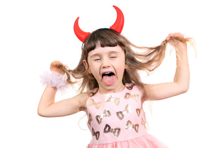 female tongue: Naughty Little Girl with Devil Horns on the White Background Stock Photo