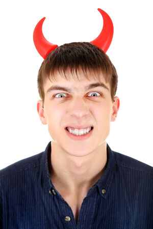 Angry Teenager with Devil Horns Isolated on the White Background