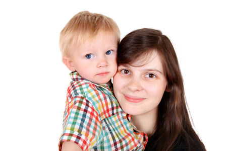 Young Mother and Child Portrait Isolated on the White Background photo