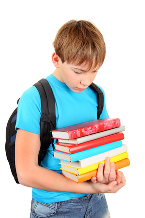 knapsack: Stressed Teenager with a Books Isolated on the White Background