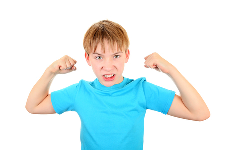 wicked problem: Angry Kid Muscle Flexing Isolated on the White Background