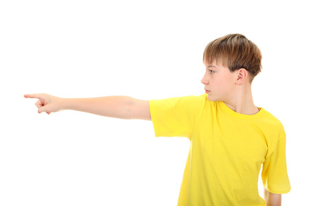 kid pointing: Kid pointing Isolated on the White Background