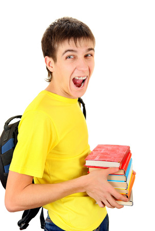 knapsack: Happy Student with Knapsack Hold the Books Isolated on the White Background