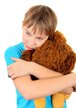 sissy: Kid with Plush Toy on the White Background