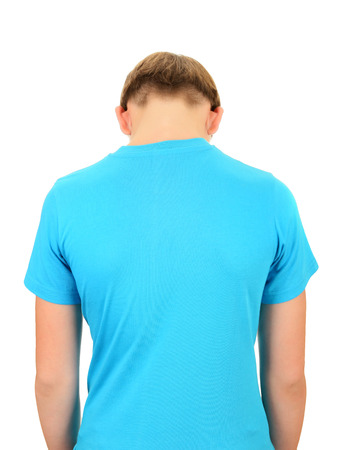boyhood: Back View of the Teenager isolated on the white background