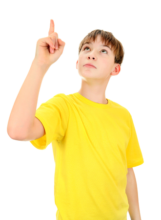 kid pointing: Kid pointing up Isolated on the White Background
