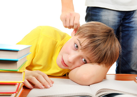 Parent threatening Son for a Learning on the white background photo