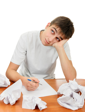 compose: Teenager compose a Letter on the White Background Stock Photo